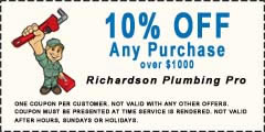 10% off richardson plumbing any purchase over $1000