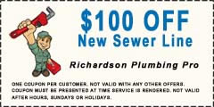 $100 off new richardson plumbing sewer line