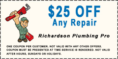 $25 off any richardson plumbing service call